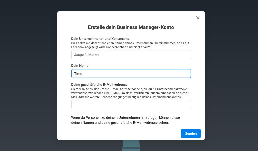 Business Manager Konto anlegen