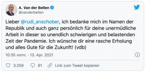 """Tweet von Alexander Van der Bellen: """"Lieber Rudi Anschober, ich bedanke mich im Namen der Republik und auch ganz persönlich für deine unermüdliche Arbeit in dieser so unendlich schwierigen und belastenden Zeit der Pandemie. Ich wünsche dir eine rasche Erholung und alles Gute für die Zukunft!"""" (vdb)"""