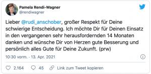 """Tweet von Pamela Rendi-Wagner: """"Lieber Rudi Anschober, großen Respekt für Deine schwierige Entscheidung. Ich möchte Dir für Deinen Einsatz in den vergangenen sehr herausfordernden 14 Monaten danken und wünsche Dir von Herzen gute Besserung und persönlich alles Gute für Deine Zukunft. (prw)"""""""