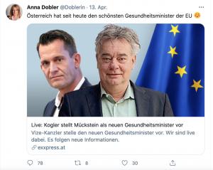 """Tweet Anna Dobler: """"Österreich hat seit heute den schönsten Gesundheitsminister der EU"""""""
