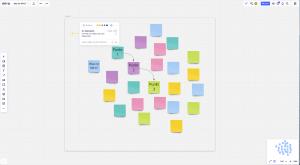 Miro-Board mit vielen bunten Sticky Notes, Text, Kommentar, Pfeilen und Frame.