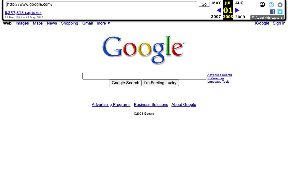 Screenshot der Google Startseite vom 01.07.2008