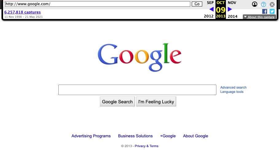 Screenshot der Google-Startseite vom 09.10.2013