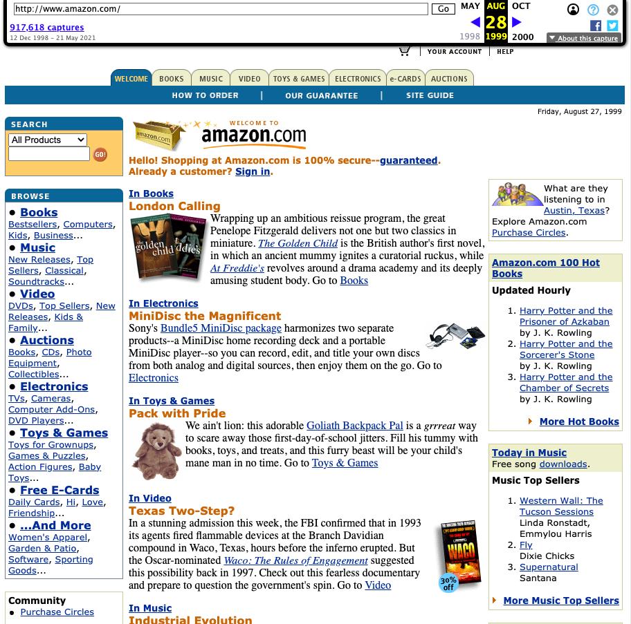 Screenshot der Amazon Startseite vom 28.8.1999