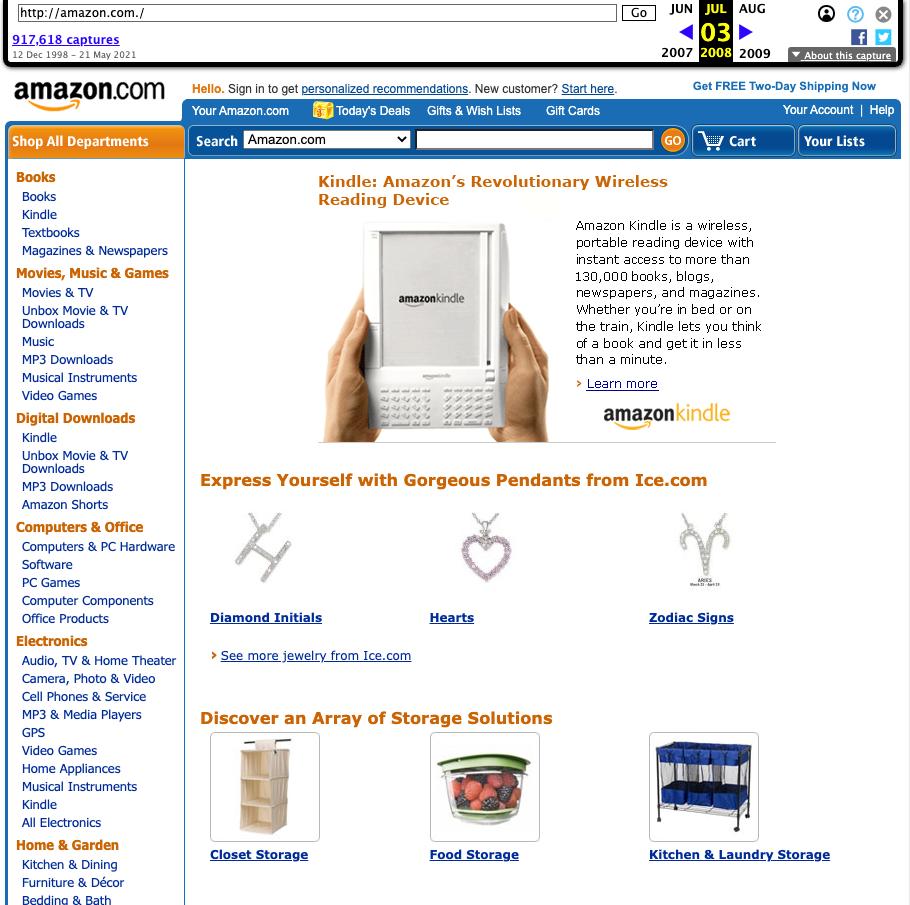 Screenshot der Amazon Startseite vom 3.7.2008
