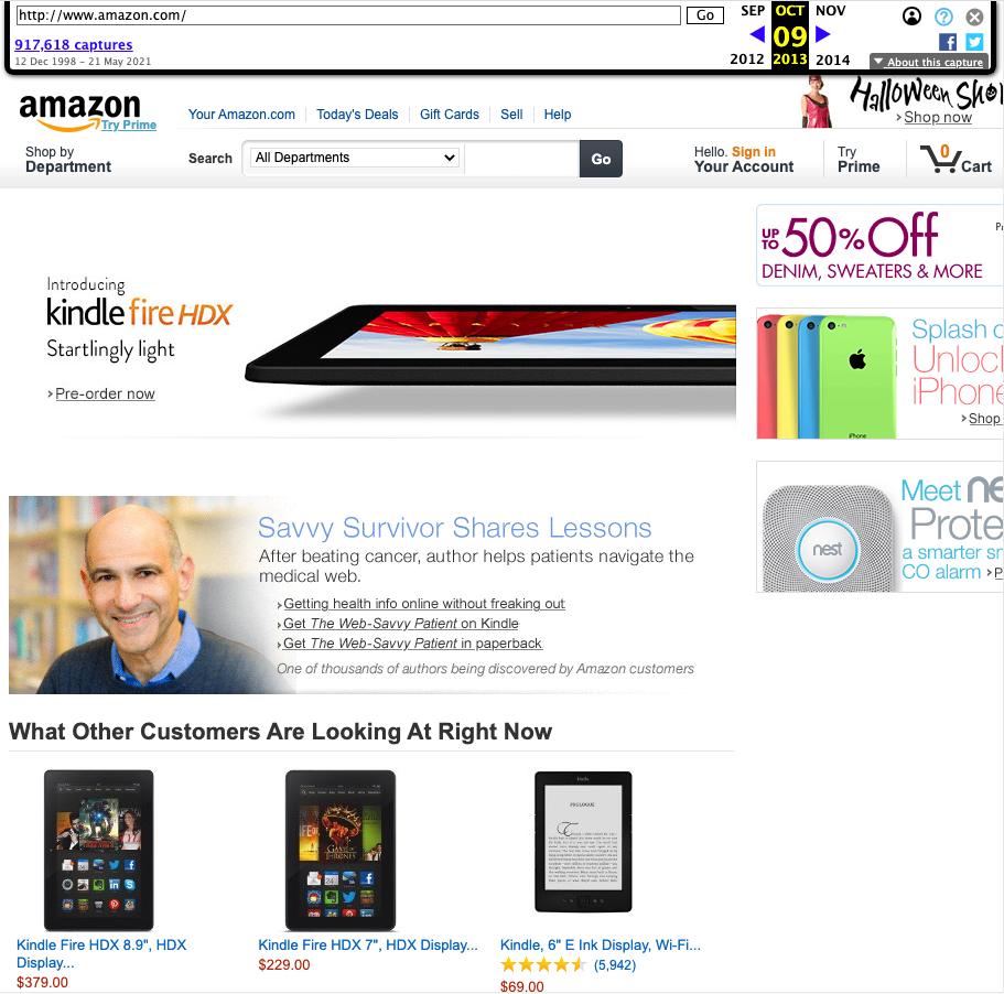 Screenshot der Amazon Startseite vom 9.10.2013