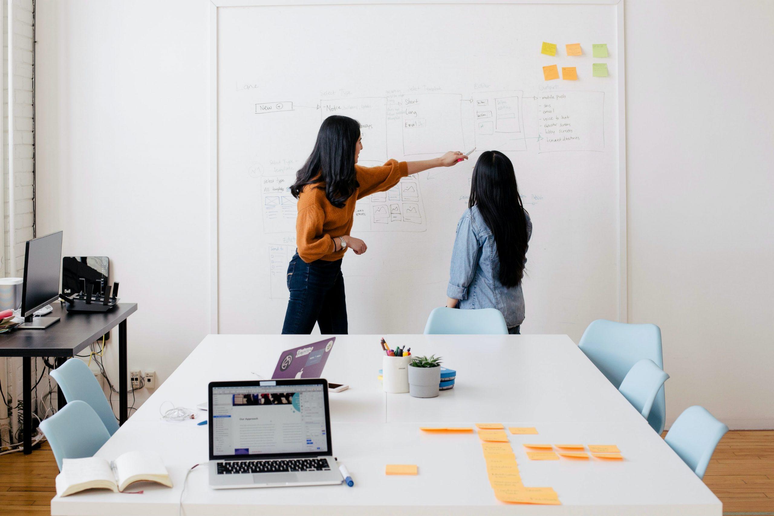 Zwei Frauen, die zusammen an einem Whiteboard arbeiten