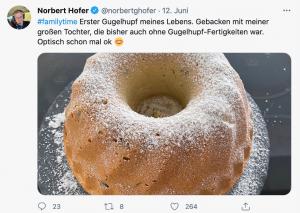 """Tweet Norbert Hofer: Bild von einem Guglhupf und Text: """"Erster Guglhupf meines Lebens. Gebacken mit meiner großen Tochter, die bisher auch ohne Guglhupf-Fertigkeit war. Optisch schon mal ok"""""""