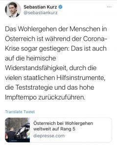 """Tweet Sebastian Kurz: """"Das Wohlergehen der Menschen in Österreich ist während der Corona-Krise sogar gestiegen: Das ist auch auf die heimische Widerstandsfähigkeit, durch die vielen staatlichen Hilfsmittelinstrumente, die Teststrategie und das hohe Impftempo zurückzuführen."""""""