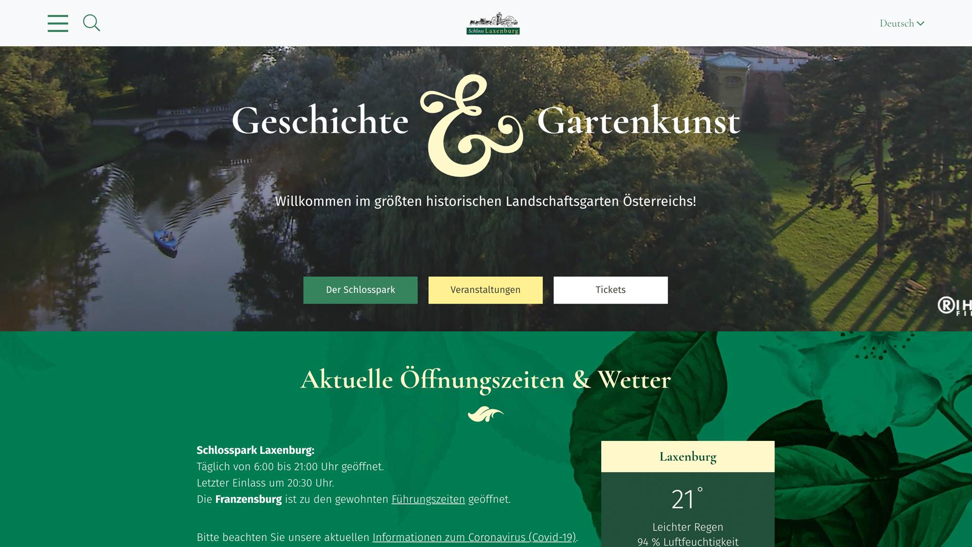 Neue Website Schloss Laxenburg 2021